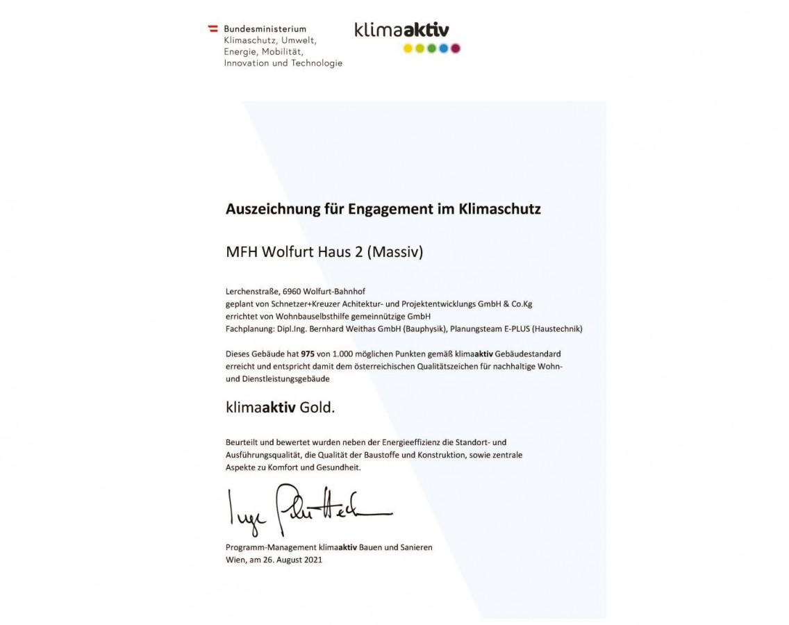 Auszeichnung für Engagement im Klimaschutz - MFH Wolfurt Haus 2 (Massiv)