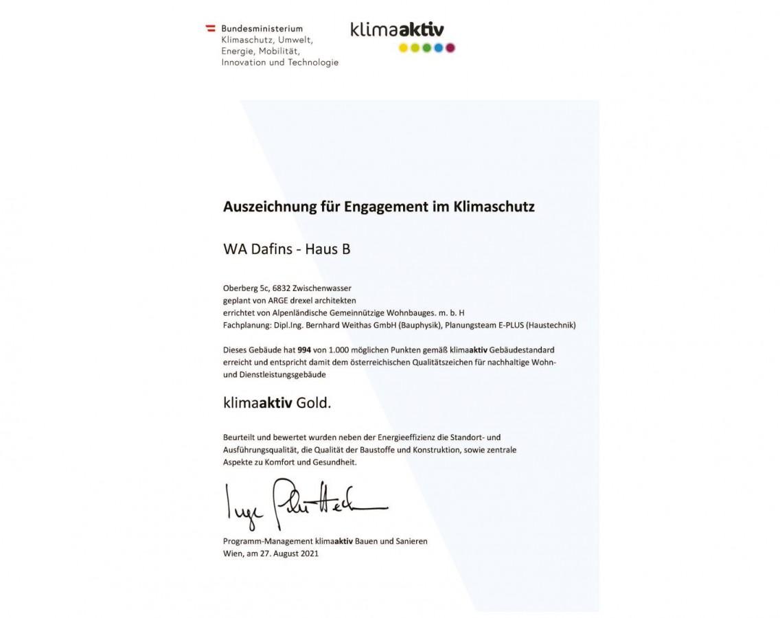 Auszeichnung für Engagement im Klimaschutz - WA Dafins - Haus B