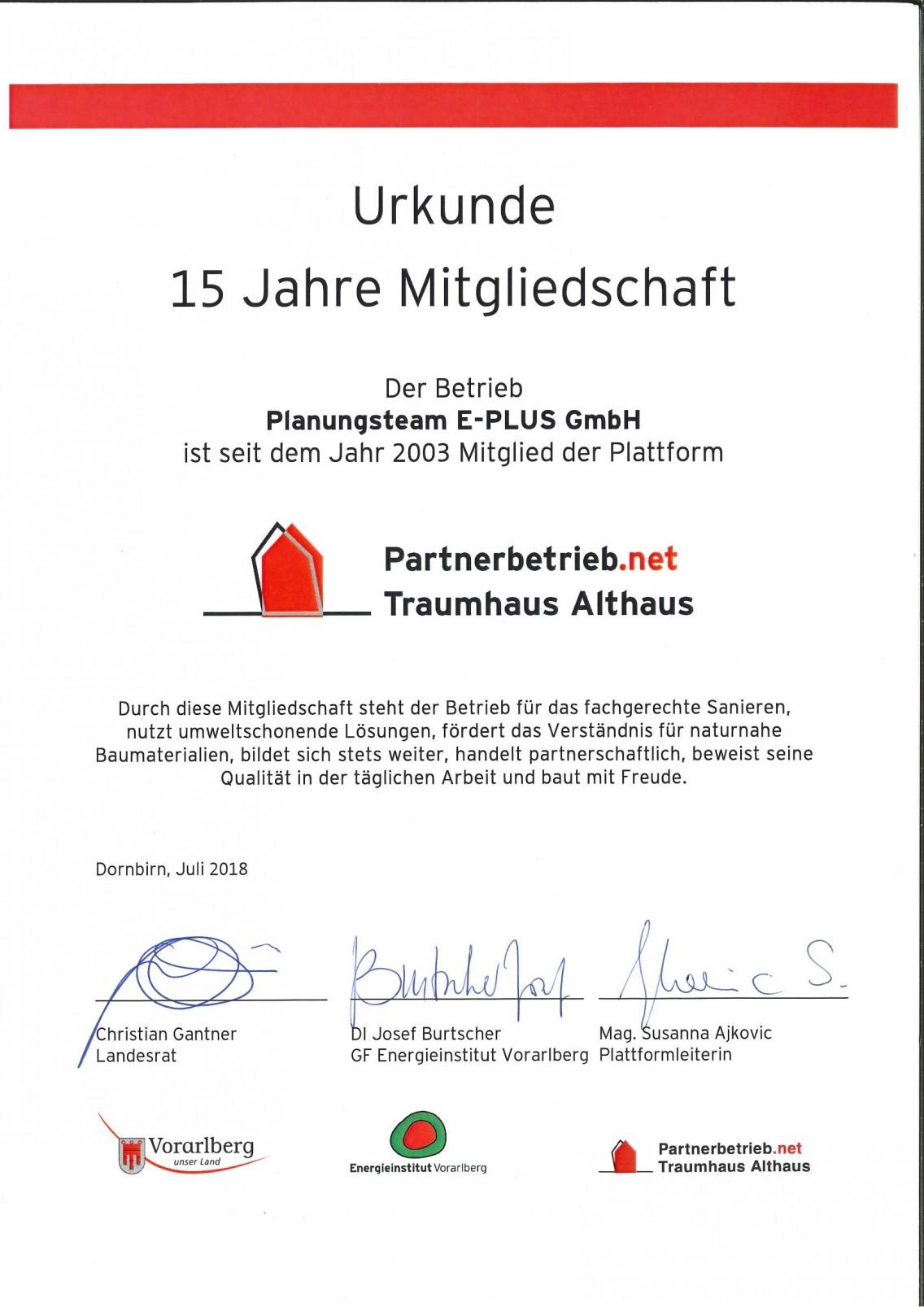 15 Jahre Mitgliedschaft bei Traumhaus Althaus